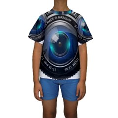 Camera Lens Prime Lens Photography Kids  Short Sleeve Swimwear