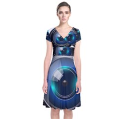 Camera Lens Prime Lens Photography Short Sleeve Front Wrap Dress