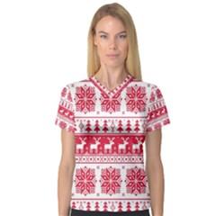 Christmas Pattern Women s V-Neck Sport Mesh Tee