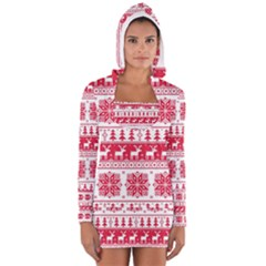 Christmas Pattern Women s Long Sleeve Hooded T-shirt