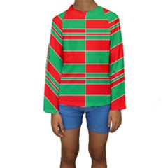 Christmas Colors Red Green White Kids  Long Sleeve Swimwear