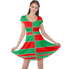 Christmas Colors Red Green White Cap Sleeve Dresses