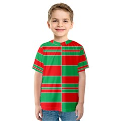 Christmas Colors Red Green White Kids  Sport Mesh Tee