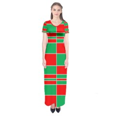 Christmas Colors Red Green White Short Sleeve Maxi Dress
