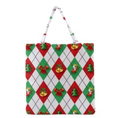 Christmas Decorations Argyle Green Grocery Tote Bag