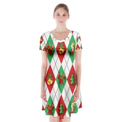 Christmas Decorations Argyle Green Short Sleeve V-neck Flare Dress
