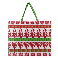 Christmas Icon Set Bands Star Fir Zipper Large Tote Bag