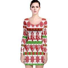 Christmas Icon Set Bands Star Fir Long Sleeve Velvet Bodycon Dress
