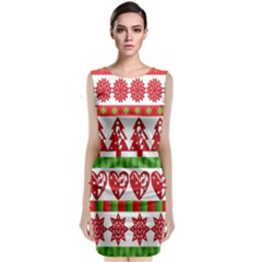 Christmas Icon Set Bands Star Fir Classic Sleeveless Midi Dress