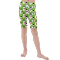 Christmas Snowman Green Background Kids  Mid Length Swim Shorts