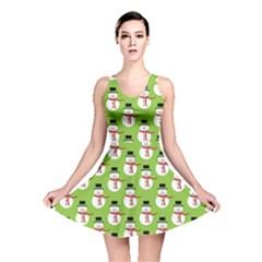 Christmas Snowman Green Background Reversible Skater Dress