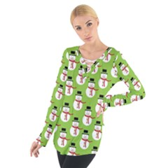 Christmas Snowman Green Background Women s Tie Up Tee