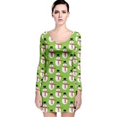 Christmas Snowman Green Background Long Sleeve Velvet Bodycon Dress