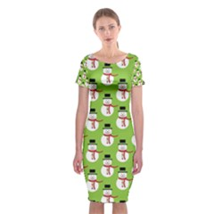 Christmas Snowman Green Background Classic Short Sleeve Midi Dress