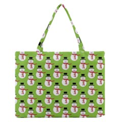 Christmas Snowman Green Background Medium Zipper Tote Bag