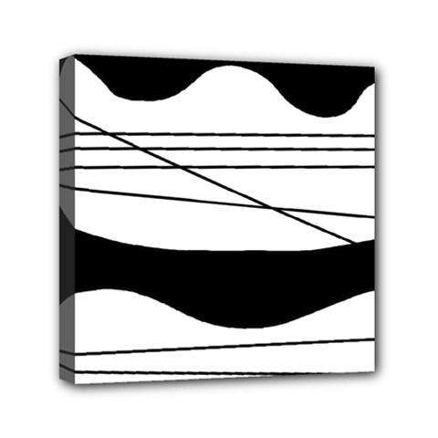 White and black waves Mini Canvas 6  x 6