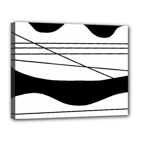 White and black waves Canvas 14  x 11