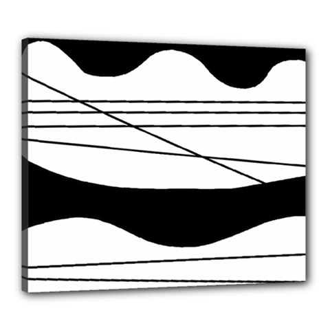White and black waves Canvas 24  x 20