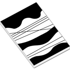 White and black waves Large Memo Pads