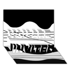White and black waves YOU ARE INVITED 3D Greeting Card (7x5)