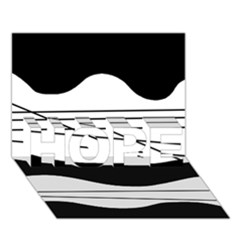White and black waves HOPE 3D Greeting Card (7x5)