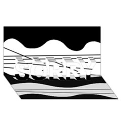 White and black waves SORRY 3D Greeting Card (8x4)