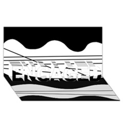 White and black waves ENGAGED 3D Greeting Card (8x4)