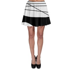White and black waves Skater Skirt