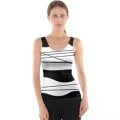 White and black waves Tank Top