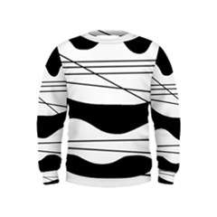 White and black waves Kids  Sweatshirt
