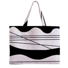 White and black waves Zipper Mini Tote Bag