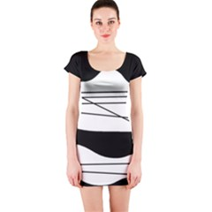 White and black waves Short Sleeve Bodycon Dress