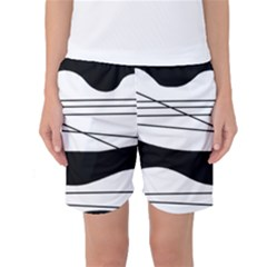 White and black waves Women s Basketball Shorts