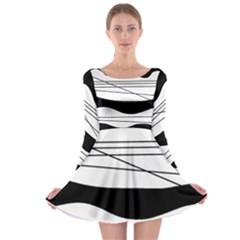 White and black waves Long Sleeve Skater Dress