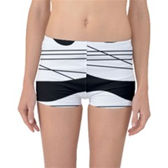 White and black waves Boyleg Bikini Bottoms