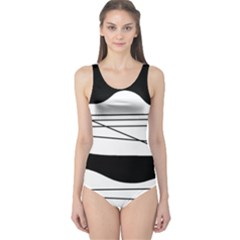 White and black waves One Piece Swimsuit