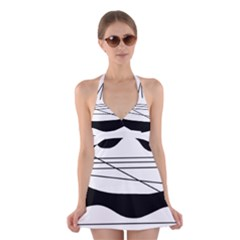 White and black waves Halter Swimsuit Dress
