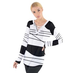 White And Black Waves Women s Tie Up Tee