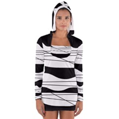 White and black waves Women s Long Sleeve Hooded T-shirt