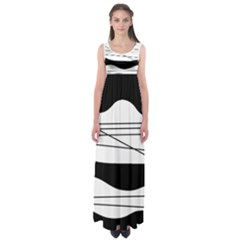 White and black waves Empire Waist Maxi Dress
