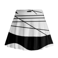 White and black waves Mini Flare Skirt