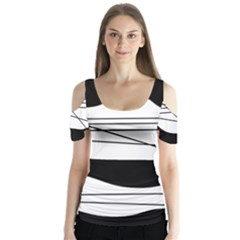 White and black waves Butterfly Sleeve Cutout Tee