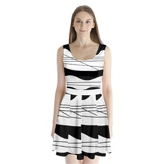 White and black waves Split Back Mini Dress