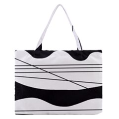 White and black waves Medium Zipper Tote Bag