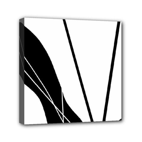 White and Black  Mini Canvas 6  x 6