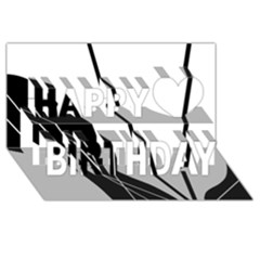 White and Black  Happy Birthday 3D Greeting Card (8x4)