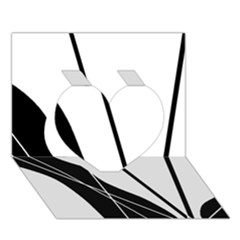 White and Black  Heart 3D Greeting Card (7x5)