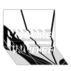 White and Black  YOU ARE INVITED 3D Greeting Card (7x5)