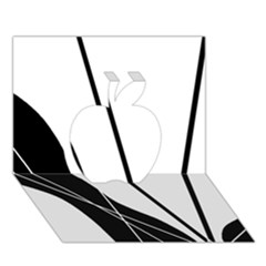 White and Black  Apple 3D Greeting Card (7x5)