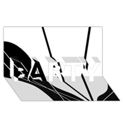 White and Black  PARTY 3D Greeting Card (8x4)